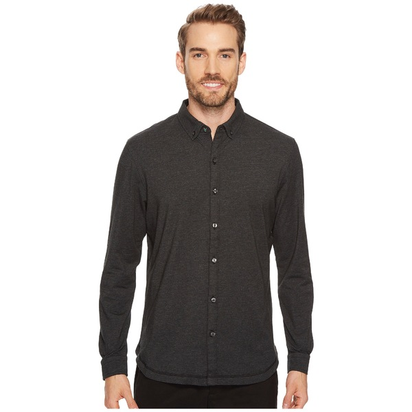 リンクソウル メンズ シャツ トップス LS208 - Rambler Long-Sleeved Button Down Shirt Black Heather