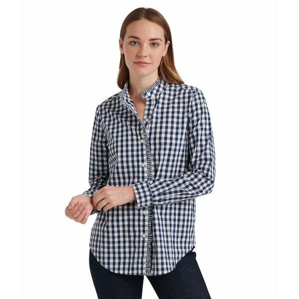 ラッキーブランド レディース シャツ トップス Long Sleeve Button-Up Classic Ruffle Shirt Navy Multi