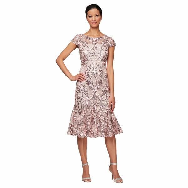 アレックスイブニングス レディース ワンピース トップス Midi Embroidered Fit-and-Flare Dress Blossom