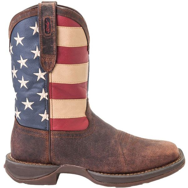 デゥランゴ メンズ ブーツ&レインブーツ シューズ Durango Men's American Flag Pull-On Western Work Boots BrownUnionFlag