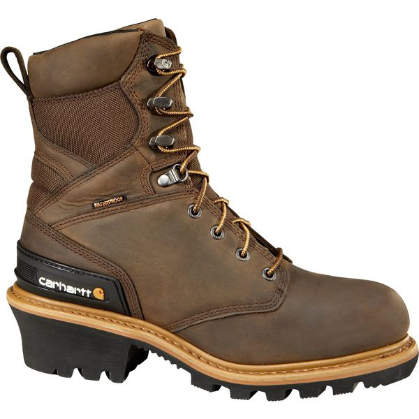 カーハート メンズ ブーツ&レインブーツ シューズ Carhartt Men's Logger 8'' Waterproof 400g Work Boots CrazyHorseBrownOilTan