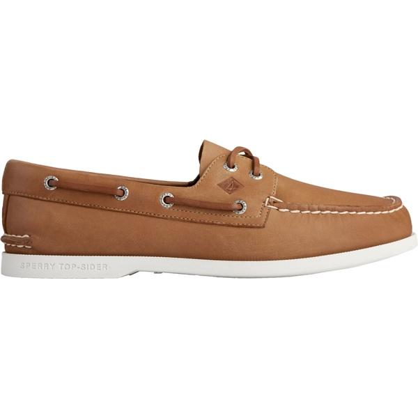 トップサイダー メンズ スニーカー シューズ Sperry Men's Authentic Original PLUSHWAVE 2 Eye Boat Shoes Tan