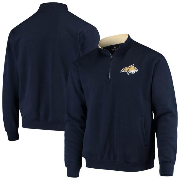 コロシアム メンズ ジャケット&ブルゾン アウター Montana State Bobcats Colosseum Tortugas Logo QuarterZip Pullover Jacket Navy