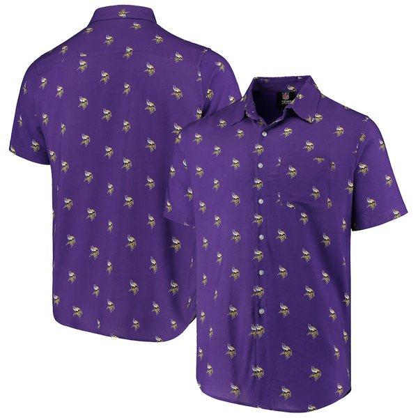 フォコ メンズ シャツ トップス Minnesota Vikings Mini Print Logo Woven Button-Up Shirt Purple
