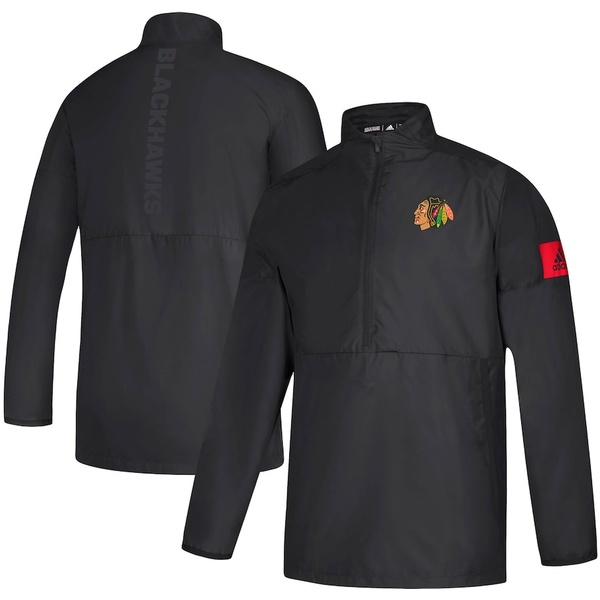 アディダス メンズ ジャケット&ブルゾン アウター Chicago Blackhawks adidas Game Mode climalite Quarter-Zip Jacket Black