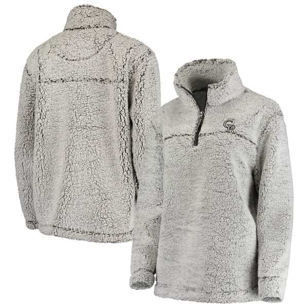 カールバンクス レディース ジャケット&ブルゾン アウター Colorado Rockies G-III 4Her by Carl Banks Women's Sherpa Quarter-Zip Pullover Jacket Gray