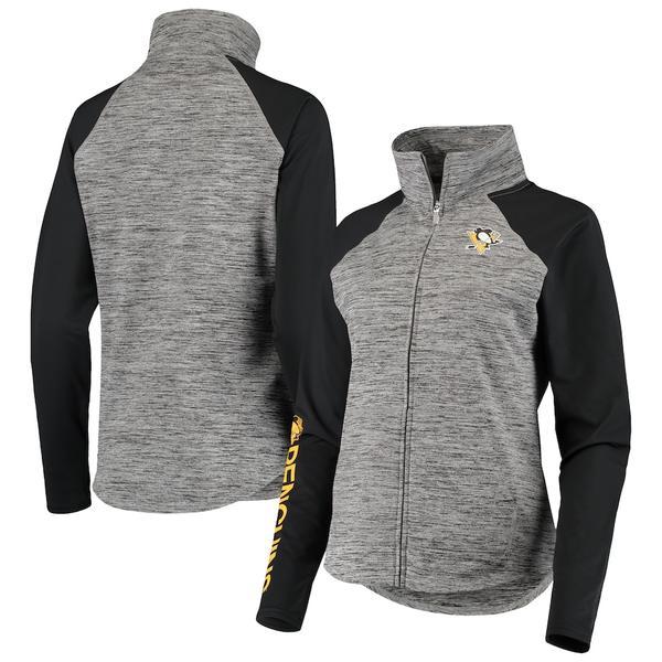 カールバンクス レディース ジャケット&ブルゾン アウター Pittsburgh Penguins G-III 4Her by Carl Banks Women's Energize Full-Zip Jacket Gray/Black