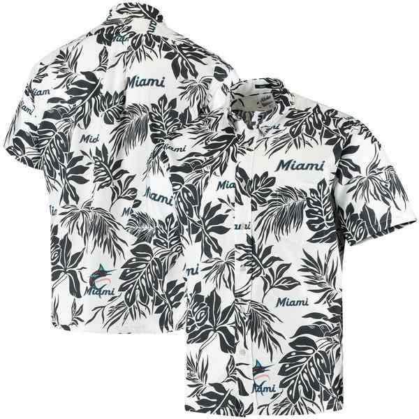 レインスプーナー メンズ シャツ トップス Miami Marlins Reyn Spooner Aloha Button-Down Shirt White