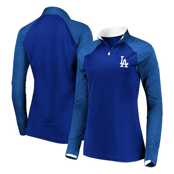マジェスティック レディース ジャケット&ブルゾン アウター Los Angeles Dodgers Majestic Women's Extremely Clear Cool Base Raglan 1/2-Zip Jacket Navy