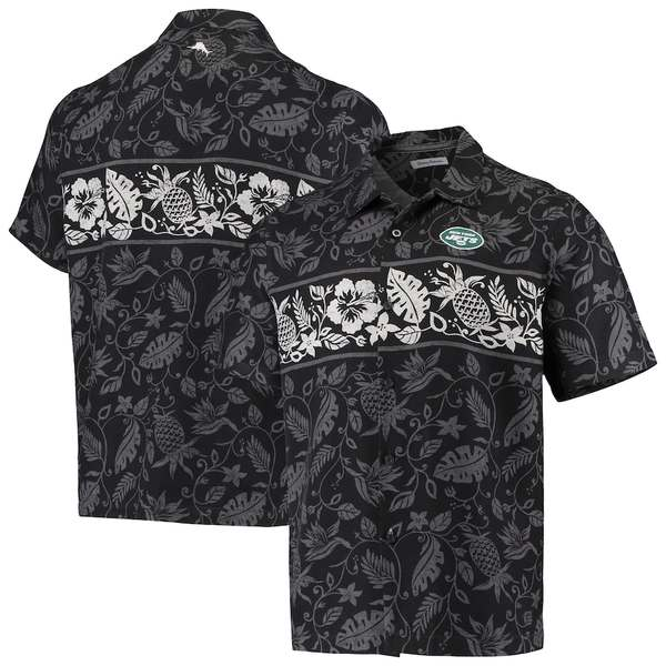 トッミーバハマ メンズ シャツ トップス New York Jets Tommy Bahama Pina Plazzo Silk Camp Shirt Black