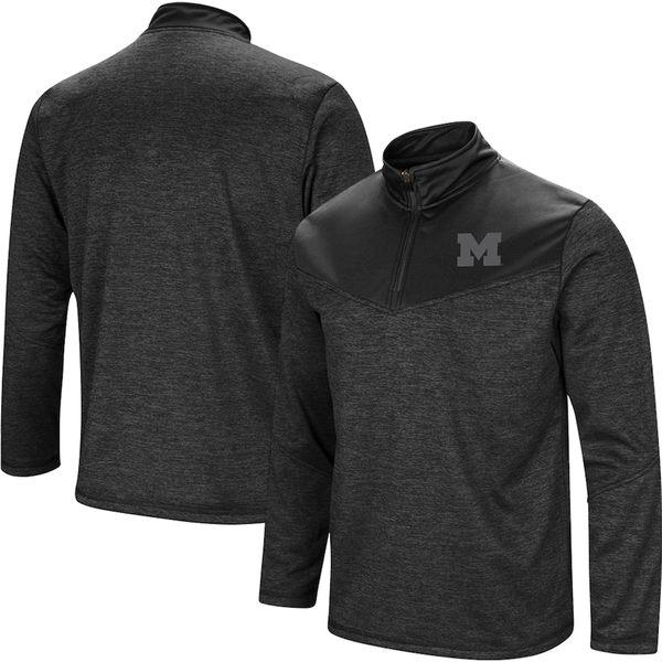 コロシアム メンズ ジャケット&ブルゾン アウター Michigan Wolverines Colosseum Blackout Quarter-Zip Pullover Jacket Heathered Black