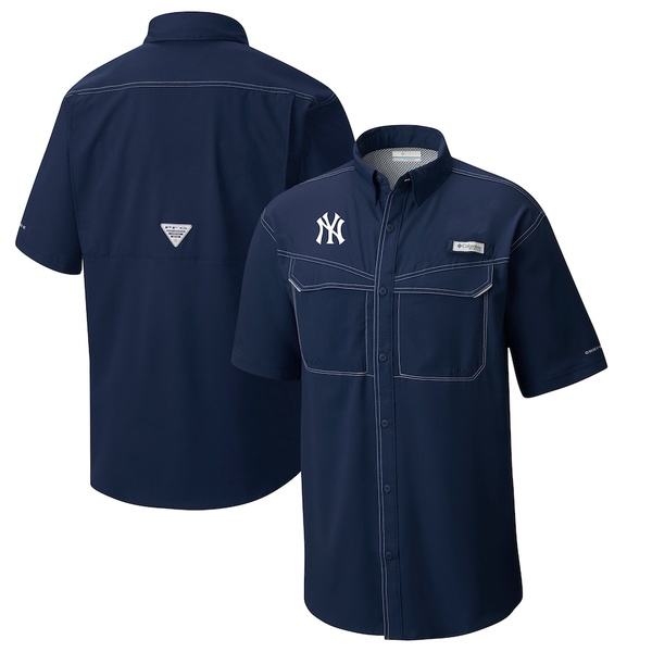 コロンビア メンズ シャツ トップス New York Yankees Columbia Low Drag Offshore Omni-Shade Button-Up Shirt Navy