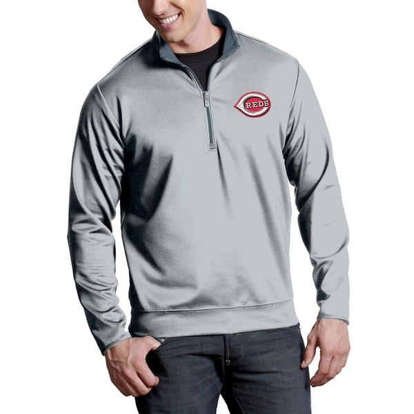 アンティグア メンズ ジャケット&ブルゾン アウター Cincinnati Reds Antigua Leader Quarter-Zip Pullover Jacket Silver