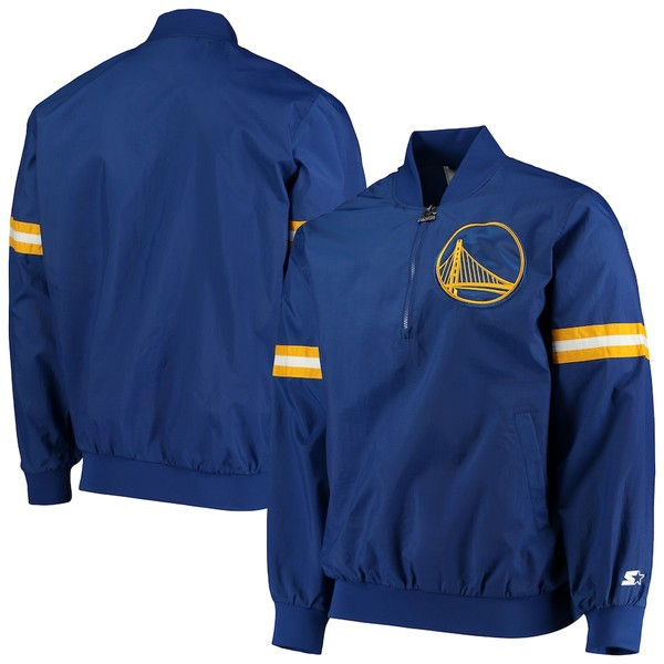 スターター メンズ ジャケット&ブルゾン アウター Golden State Warriors Starter The Jet II Crinkle Half-Zip Pullover Jacket Royal