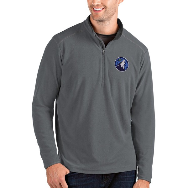 アンティグア メンズ ジャケット&ブルゾン アウター Minnesota Timberwolves Antigua Glacier Quarter-Zip Pullover Jacket Charcoal/Gray