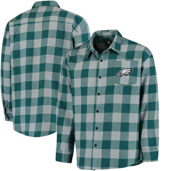 フォコ メンズ シャツ トップス Philadelphia Eagles Klew Large Check Flannel Button-Up Shirt Midnight Green