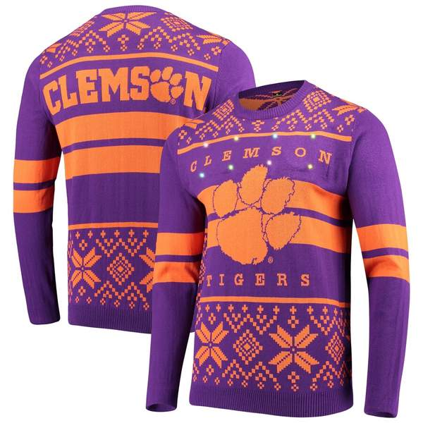 フォコ メンズ シャツ トップス Clemson Tigers Two-Stripe Light-Up Pullover Sweater Purple/Orange
