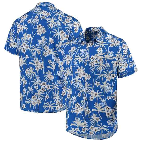 フォコ メンズ シャツ トップス Kentucky Wildcats College Floral Button-Up Shirt Royal