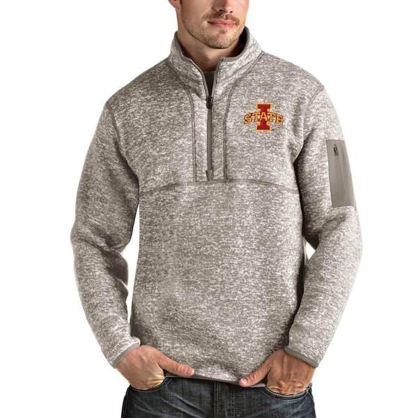 アンティグア メンズ ジャケット&ブルゾン アウター Iowa State Cyclones Antigua Fortune Half-Zip Pullover Jacket Oatmeal