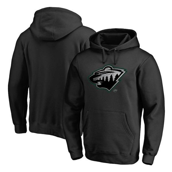 ファナティクス メンズ パーカー・スウェットシャツ アウター Minnesota Wild Fanatics Branded Core Smoke Pullover Hoodie Black