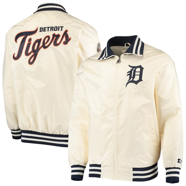 スターター メンズ ジャケット&ブルゾン アウター Detroit Tigers Starter The Captain II Full-Zip Jacket Cream