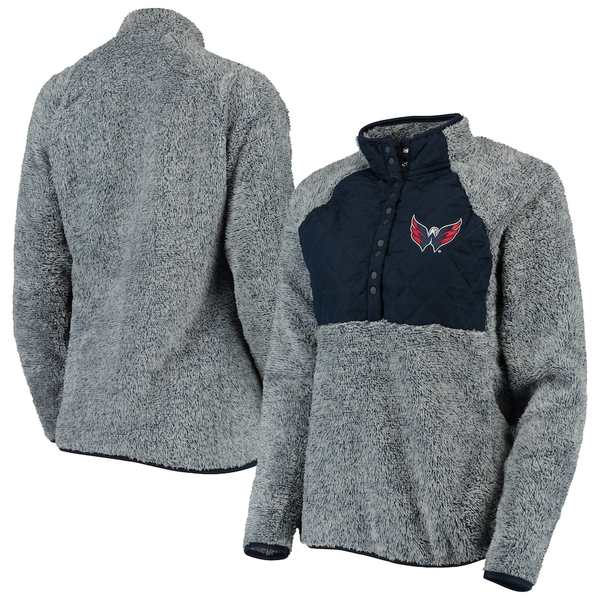アンティグア レディース ジャケット&ブルゾン アウター Washington Capitals Antigua Women's Surround Sherpa Quarter-Snap Pullover Jacket Navy/Heathered Gray