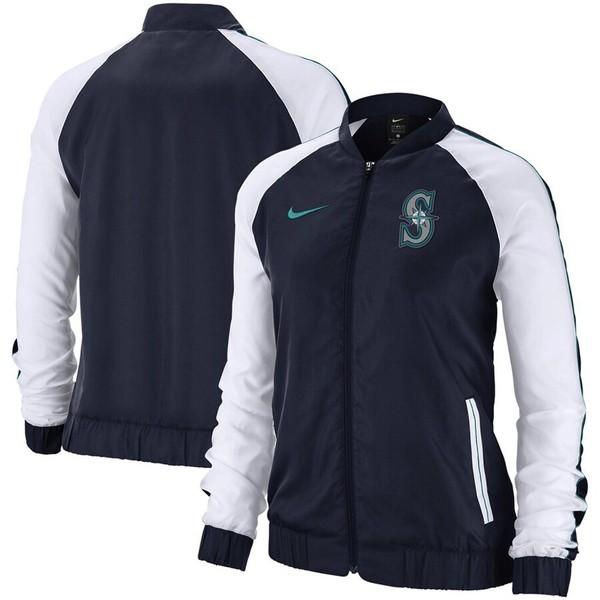 ナイキ レディース ジャケット&ブルゾン アウター Seattle Mariners Nike Women's Varsity Full-Zip Jacket Navy
