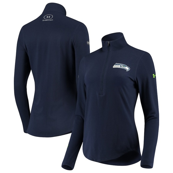 アンダーアーマー レディース ジャケット&ブルゾン アウター Seattle Seahawks Under Armour Women's Combine Authentic Favorites Half-Zip Jacket College Navy