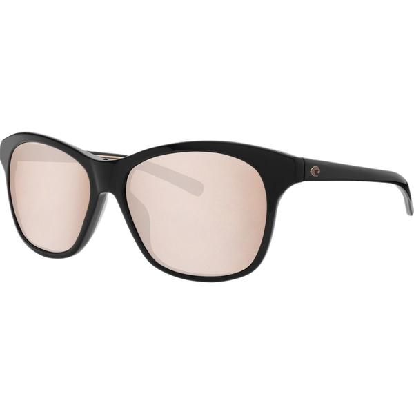 コスタ レディース サングラス&アイウェア アクセサリー Sarasota 580G Polarized Sunglasses - Women's Shiny Black Frame/Copper Silver Mirror