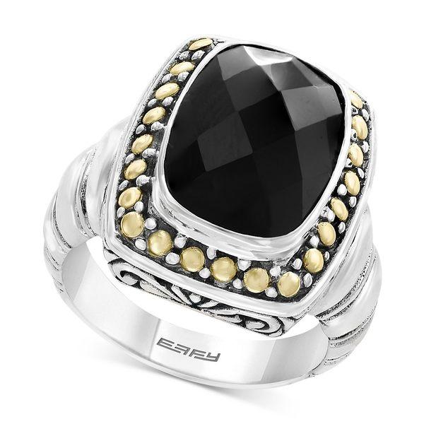 エフィー コレクション レディース 激安通販販売 アクセサリー リング Two-Tone 全商品無料サイズ交換 Eclipse by EFFY® in Sterling 18k Silver 10mm 14 Ring 税込 Gold Onyx x