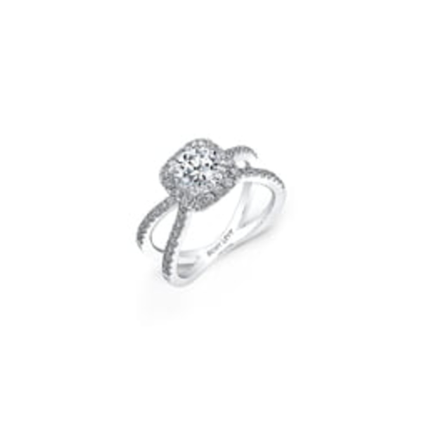 ボニー レヴィ レディース リング アクセサリー PavDiamond Split Shank Round Engagement Ring Setting White Gold