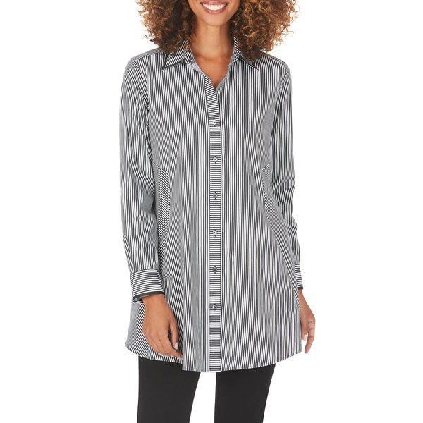フォックスクラフト レディース シャツ トップス Cici After Party Stripe Non-Iron Stretch Tunic Shirt Black