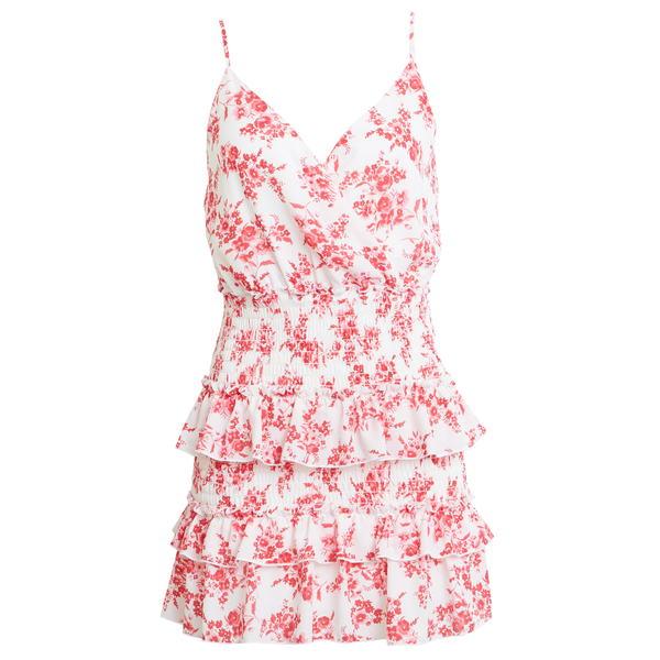 ロウエー レディース ワンピース トップス Floral Tiered Minidress White/ Pink
