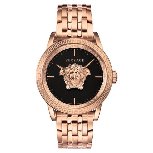 ヴェルサーチ メンズ ブレスレット・バングル・アンクレット アクセサリー Palazzo Empire Bracelet Watch, 43mm Rose Gold/ Black/ Rose Gold