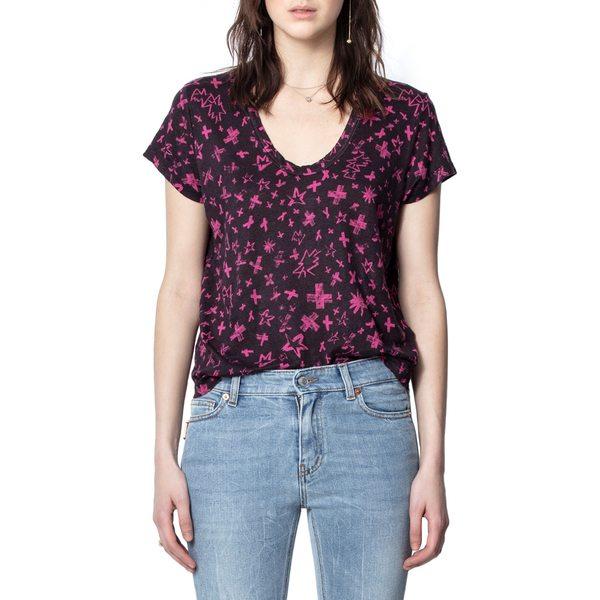 ザディグ エ ヴォルテール レディース シャツ トップス Aretha Print T-Shirt Framboise