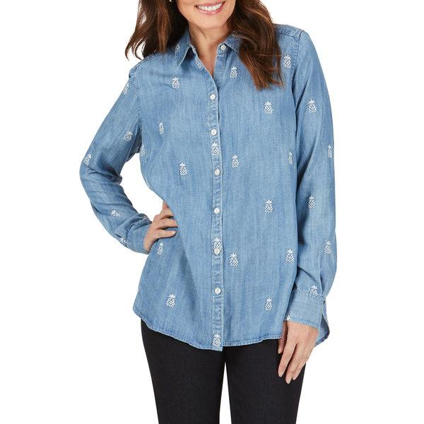 フォックスクラフト レディース シャツ トップス Carmen Embroidered Pineapple Chambray Shirt Light Denim