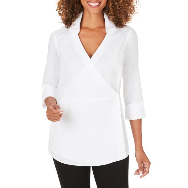 フォックスクラフト レディース Tシャツ トップス Solista Wrap Front Stretch Cotton Blend Blouse White