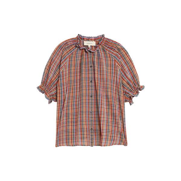 ザ・グレート レディース Tシャツ トップス The Gather Plaid Cotton Top Midsummer Plaid