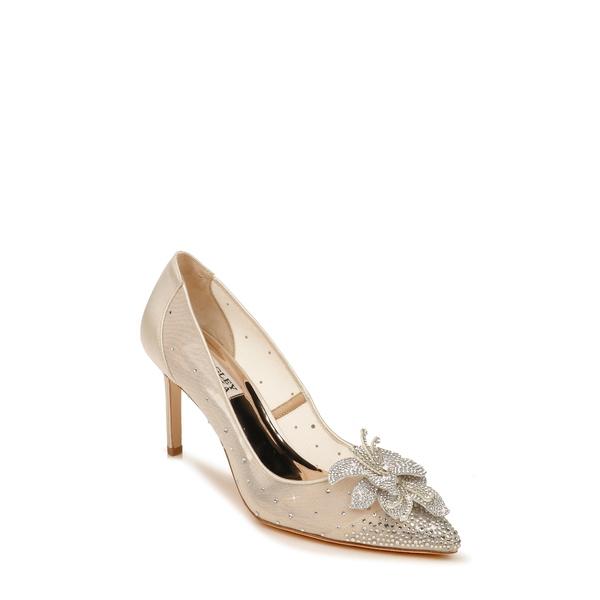 バッドグレイミッシカ レディース パンプス シューズ Badgley Mischka Gilda Embellished Pointed Toe Pump Ivory Satin