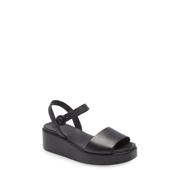 カンペール レディース サンダル シューズ Misia Platform Wedge Sandal New Black Leather