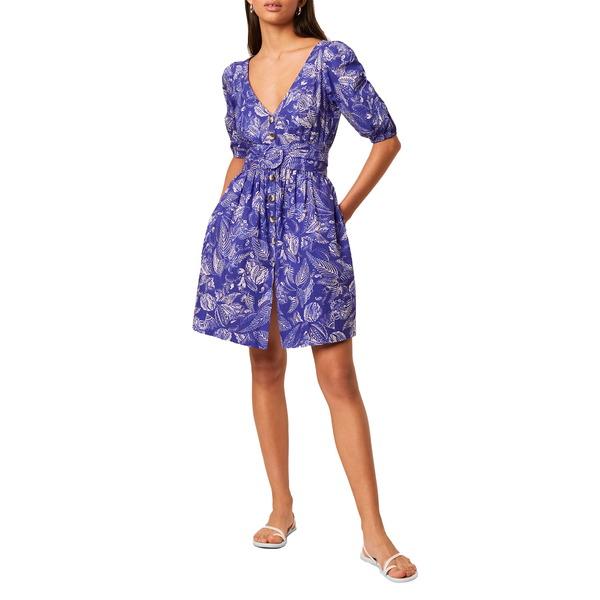 フレンチコネクション レディース ワンピース トップス Besima Belted Cotton Poplin Dress Clement Blue Multi