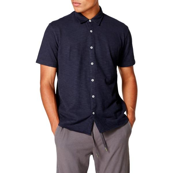 グッドマンブランド メンズ シャツ トップス Slubbed Knit Slim Fit Shirt Sky Captain