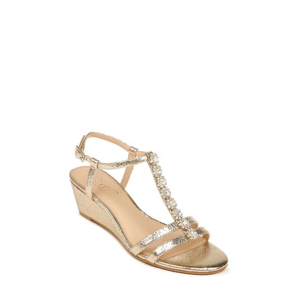 ジュウェルダグレイミシュカ レディース サンダル シューズ Farah Crystal Embellished Wedge Sandal Light Gold Faux Leather
