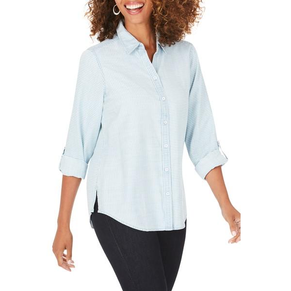 フォックスクラフト レディース シャツ トップス Rhea Stripe Shirt Bluewash