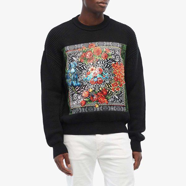 ベルサーチ レディース パーカー・スウェットシャツ アウター Knit Sweater with Optical Flower Print Detail Black