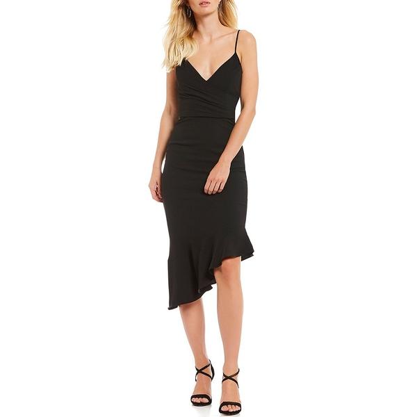 ジアーニビニ レディース ワンピース トップス Lee V-Neck Spaghetti Strap Fluted Asymmetric Hem Midi Sheath Dress Black