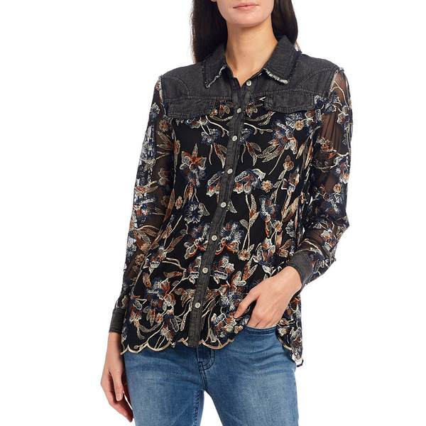 レバ レディース シャツ トップス Floral Embroidered Mesh & Denim Button Front Scalloped Hem Shirt Black Multi
