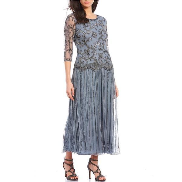 ピサッロナイツ レディース ワンピース トップス Beaded Mock Two-Piece Dress Light Blue