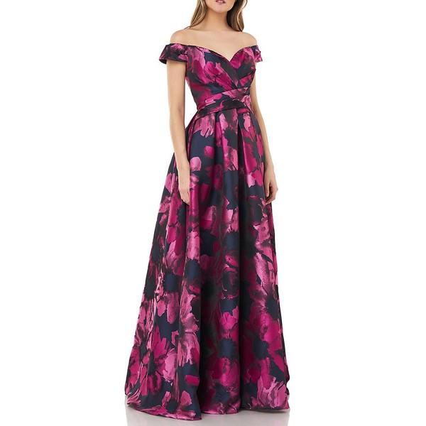 カルメンマークヴァルヴォ レディース ワンピース トップス Off-The-Shoulder Floral Print Jacquard Ball Gown Navy/Fuschia