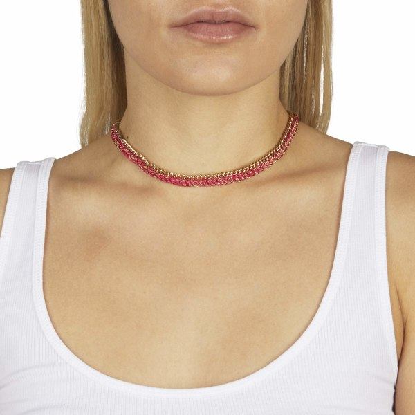 レベッカミンコフ レディース ネックレス・チョーカー・ペンダントトップ アクセサリー Woven Chain Necklace Gold/Pink